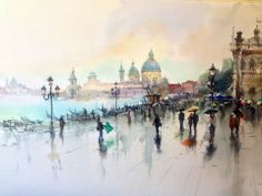 Igor Sava is a talented watercolor artist from Moldova. Art Aquarelle, Art Watercolor, Watercolor Landscape, Watercolor Architecture, Guache, Art Studies, Light Painting, Beautiful Paintings, Urban Art