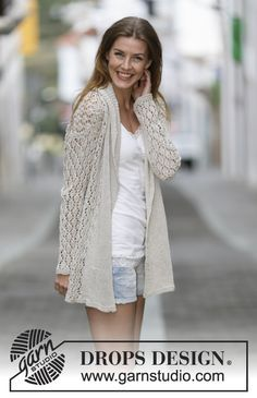 """Lace Affair - Knitted DROPS jacket with lace pattern and shawl collar in """"Bomull-Lin"""" or """"Paris"""". Size: S - XXXL. - Free pattern by DROPS Design Gilet Crochet, Crochet Cardigan Pattern, Crochet Jacket, Knit Jacket, Knit Crochet, Summer Knitting, Lace Knitting, Knitting Patterns Free, Knit Patterns"""