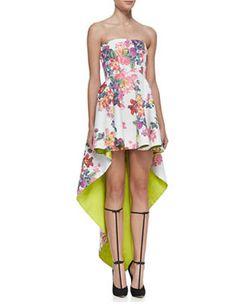 ALEXIS Caddington Floral-Print High-Low Strapless Dress