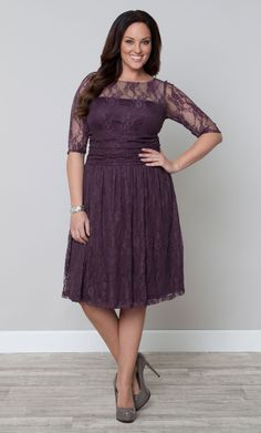 Our plus size Luna Lace Dress features sheer lace 3/4 sleeves and scalloped edging. It's the most perfectly romantic cocktail dress! www.kiyonna.com #Plussize #Kiyonna  #Lacedress