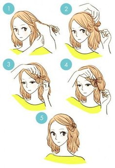 DIY tutorials on how to style your hair in 3 minutes. Quick and easy hairstyles. Techniques to style your hair and look elegant in no time. Fast Hairstyles, Pretty Hairstyles, Everyday Hairstyles, Easy Hairstyles For Short Hair, Wedding Hairstyles, Quick Hairstyles For School, Kawaii Hairstyles, Blonde Hairstyles, Layered Hairstyles