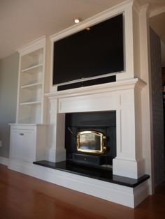 This custom mantle/TV cab/ built-in was built over existing brick fireplace w/fireplace insert. TV is on fully articulating/telescoping mount to allow easy access to storage/components behind TV.