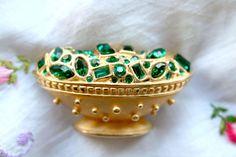 Green Stone Goldtone Metal Bowl Brooch by SokolProjectsVintage, $37.00