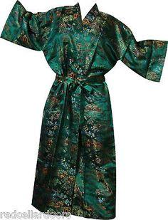 New-BEAUTIFUL-Asian-Toile-Damask-Bathrobe-Housecoat-Red-Green-Black-Blue-Yellow