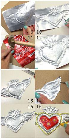 Metal Tangles lesson bundle or Ebook — Eni Oken - Her Crochet Tin Can Art, Soda Can Art, Tin Art, Aluminum Foil Art, Aluminum Can Crafts, Metal Crafts, Mexican Crafts, Mexican Folk Art, Soda Can Crafts