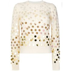 Marc Jacobs Sequined Open-Knit Sweater ($495) ❤ liked on Polyvore featuring tops, sweaters, kirna zabete, kzloves /, the fall 2017 edit, long sleeve sweater, woolen sweater, crew neck sweaters, white long sleeve sweater and white sequin top
