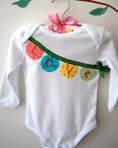 Baby Girl Personalized Bunting Onesie
