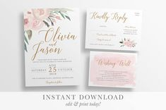 wedding invitation template | Printable rustic wedding invitation  | Watercolour Floral wedding templett instant download | SOPHIE