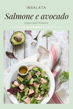 INSALATA SALMONE E AVOCADO, leggera, gustosa e semplicissima da preparare! #avocado #salmon #salad Friend Recipe, Antipasto, Sprouts, Vegetables, Recipes, Friends, Food, Dinners, Diet