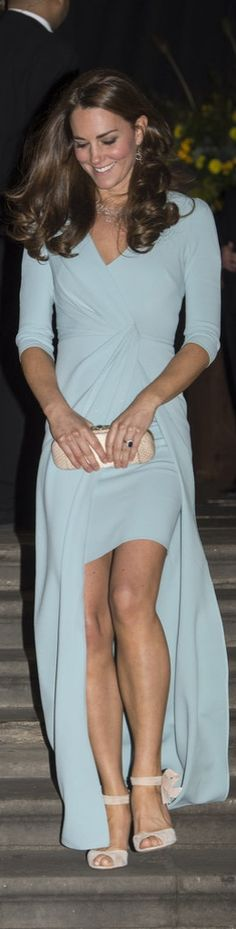 Kate Middleton's leggy powder blue Jenny Packham dress.