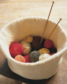 Felted Knitting Basket | Martha Stewart Living — This pliable 10-inch-tall knitting basket was made from a snowy Aran sweater.