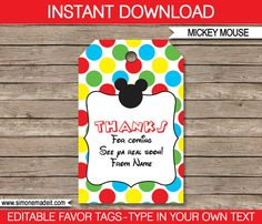 Mickey Mouse Favor Tags  Thank You Tags  Birthday Party