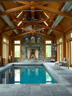 Small, modern indoor pool.