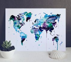 Bleu carte Aquarelle - Aquarelle Illustration - Print carte Poster - multicolore aquarelle mappemonde - carte du monde-