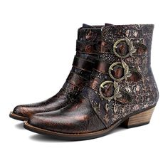 """Product Details Genuine Leather Rubber sole Shaft measures approximately 7"""" from arch Heel measures approximately 1.2"""" Boot opening measures approximately 12"""" around Premium genuine leather foot and western-inspired stitch upper ATS Advanced Torque Stability technology with composite forked shank Genuine Leather an"""