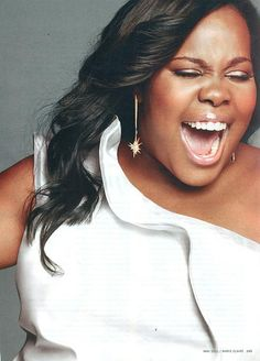 """""""Glee"""" star Amber Riley wearing DALIA MACPHEE style 3722 for Marie Claire photoshoot"""