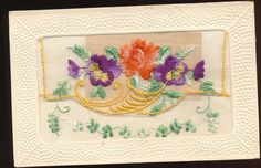 WWI Era French Silk Embroidered Postcard - Flowers & Merry Christmas Inset-ggg85