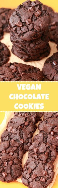 Vegan Chocolate Cookies with chocolate chunks! #vegan #lovingitvegan #chocolatecookies #dessert