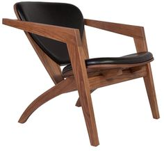 solid wood and leather lounge chair (affiliate)