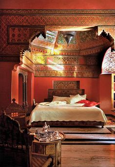 This gorgeous suite has ornate vaulted ceilings, copper detailing and marble floors! | La Sultana Marrakech in Marrakech, Morocco