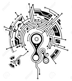 Illustration of Conceptual circuit board tattoo shape vector art, clipart and stock vectors. Circuit Board Tattoo, Circuit Board Design, Biomech Tattoo, Tech Tattoo, Hexagon Tattoo, Cyberpunk Tattoo, Electronic Tattoo, Typographie Logo, Elegant Tattoos
