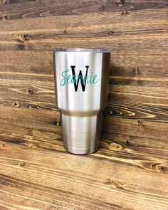 "Add your last name initial and first name to your Yeti cup with our long lasting vinyl decal. The highest quality vinyl, we offer 12 different color choices for the letter and name and all decals measure approximately 4"" w x 2 ½"" h (depending on name and letter chosen). Cup not included. Please leave name & initial you would like in notes to seller upon checkout. Handmade in the USA. ****Please make sure to leave the name & letter you would like in the notes to seller section when checking…"