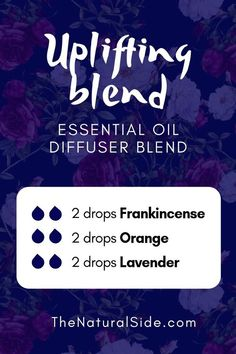 Uplifting Blend 2 drops Frankincense + 2 drops Orange + 2 drops Lavender New to Essential Oils? Searching for Simple Essential Oil Combinations for Diffuser? Check out these 21 Easy Essential Oil Blends and Essential Oil Recipes Perfect for Beginners. Helichrysum Essential Oil, Essential Oils For Headaches, Essential Oil Diffuser Blends, Doterra Essential Oils, Frankincense Essential Oil Uses, Doterra Diffuser, Frankincense Oil, Healing Oils, Aromatherapy Oils