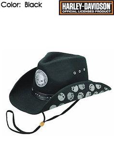 Harley-Davidson Hats Cotton Twill Cowboy HD-727 Mens Black Mens Cowboy Hats, Leather Cowboy Hats, Western Cowboy Hats, Harley Davidson 1200, Mens Gear, Skulls, Badass, Babe, Motorcycles