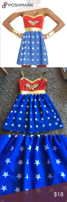 Wonder Woman Cosplay Dress Worn twice for two days at C2E2 last year. Some of the gold trim rubbed off by the armpits (pictured) and a small black dot by the WW symbol (pictured) and a little pilling on the skirt from washing, but other than that in great condition! Shiny gold trim along the top and waist. Zipper back and there is some stretch to the dress. I got so many compliments when i wore it (and pictures). I hate to part with it, but it deserves a good home instead of on a hanger. Hot…