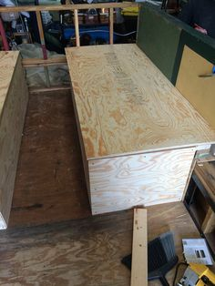 second Bed box skinned and test fitting the lid