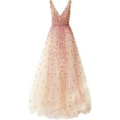 Monique Lhuillier Embroidered Degrade Ball Gown ($7,995) ❤ liked on Polyvore featuring dresses, gowns, vestidos, long dresses, pink tulle dresses, v neck long dress, pink tulle gowns, pink evening dress and pink dress
