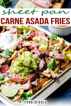 Perfect for a party or tailgating, these carne asada fries are loaded with cheese, sour cream, guacamole, and thinly sliced carne asada steak. Nobody know the exact origin of carne asada fries (although San Diego seems to stake claim to it), but everyone who eats them knows how delicious they are. While not the most authentic or traditional of Mexican food, they are perfect for a fun game day treat. | @foodabovegold #authenticmexicanrecipes #partyfood #4thofjulyrecipes #bestcarneasada Carne Asada Fries, Tailgating Recipes, Grilling Recipes, Crispy French Fries, Fries Recipe, Fun Cooking, Cooking Tips, Appetizer Recipes, Savoury Recipes
