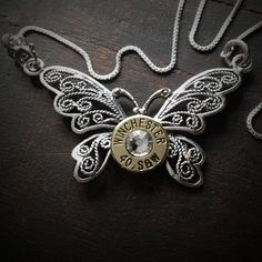 Butterfly Sterling Silver Bullet Necklace