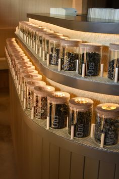Small Tea interior design by Andee Hess featuring up close the scent station and some of our favorite teas...
