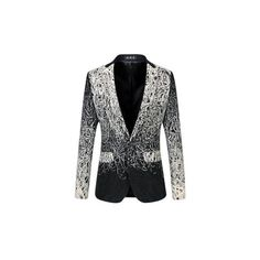 Plus Size Fashion Business Casual Embroidered Gradient Color Suits... ($56) ❤ liked on Polyvore featuring men's fashion, men's clothing, men's suits, black, men suit & blazers, plus size mens clothing, mens cotton suit, women's plus size blazers, mens cotton blazer and men's apparel
