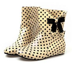Aisun Womens Cute Antiskid Polka Dots Round Toe Dress Flat Slip On Booties Short Rain Boots With Bows Yellow 6 BM US -- Check out this great product.