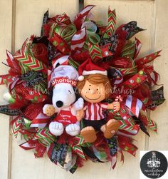 Christmas wreath deco mesh wreath Charlie Brown snoopy peppermint patty peanuts wreath