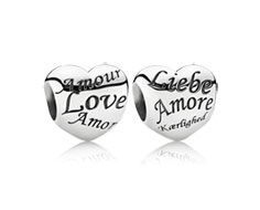 Heart silver charm with I love you in dif. languages
