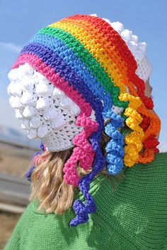 Ravelry: Primary Colors pattern by Heidi Yates    Do you see the rainbow and the clouds in this hat????