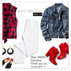 """On Trend: Winter White Denim"" by danielle-487 ❤ liked on Polyvore featuring moda, H&M, Gap, Tory Burch, Laurence Dacade, Christian Louboutin, David Webb y winterwhite"