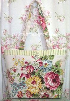 Fabulous Vintage Barkcloth Fabric Tote Shabby Pink Roses Chic Rhinestone Button | eBay