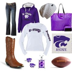 """""""K-State Football"""" game day attire but without those terrible boots. I love boots just not those lol"""