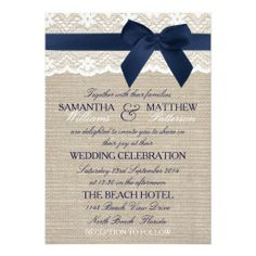 Navy Bow & Lace On Rustic Burlap Wedding