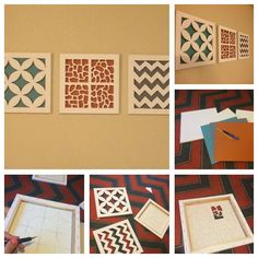 Canvas Cut-Out Art! You just need a pencil, canvases, xacto knife, cutting board, and some scrapbooking paper
