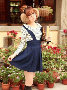 Mango Doll - Blue Pleated Suspender Skirt, $54.00 (http://www.mangodoll.com/all-items/blue-pleated-suspender-skirt/)