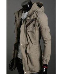 Wholesale Khaki Korean Men Slim Fitting Classic Hoodie Zipper Cotton Casual Jacket M/L/XL/XXL 1401JK01ka in ClothingLoves.net. ($35.00) - Svpply