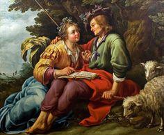 - - Cena pastoral Abraão Bloemaert (Holanda, 1564-1651) óleo sobre tela -