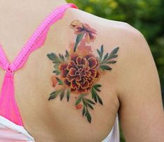 Amazing Floral Tattoos to Brighten Your Day;Amazing Floral Tattoos to Brighten Your Day; Marigold Tattoo, Peony Flower Tattoos, Birth Flower Tattoos, Flower Tattoo Designs, Rose Tattoos, Tatoos, Unique Tattoos, Beautiful Tattoos, Small Tattoos