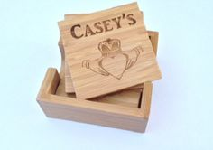 Set of 4 Bamboo Coasters & Holder. Personalized and engraved with name, monogram or logo of your choice. www.etsy.com/shop/thesmilinbride