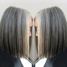 Dark lowlights to contrast with her beautiful natural grey! Color by Jenifer @77saloninc Alameda CA